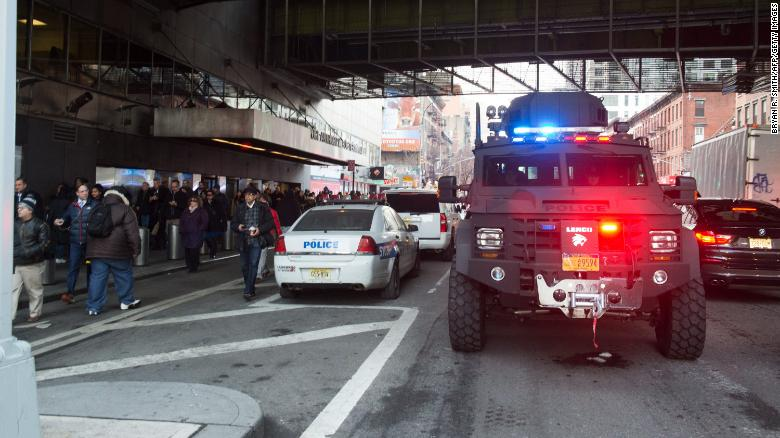 Police and other first responders outside  the Port Authority Bus Terminal on December 11, 2017 in New York.