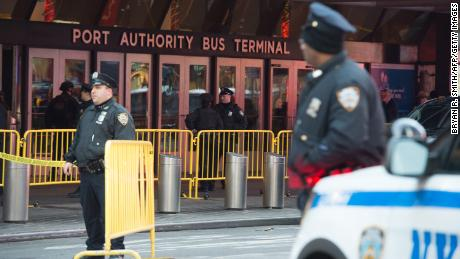 Police respond to an  explosion at the Port Authority bus terminal on Monday in New York.