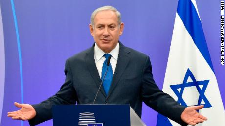 Israel's Prime Minister Benjamin Netanyahu gestures as he speaks during a joint press conference with the EU foreign policy chief, at the European Council in Brussels on December 11, 2017.  Israeli Prime Minister Benjamin Netanyahu is ?holding talks on December 11 with EU foreign ministers, days after the US decision to recognise Jerusalem as Israel's capital, a move the premier had long sought but which has been met by widespread condemnation. / AFP PHOTO / JOHN THYS        (Photo credit should read JOHN THYS/AFP/Getty Images)