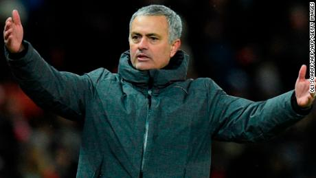Manchester United's Portuguese manager Jose Mourinho gestures on the thouchline during the English Premier League football match between Manchester United and Manchester City at Old Trafford in Manchester, north west England, on December 10, 2017. / AFP PHOTO / Oli SCARFF / RESTRICTED TO EDITORIAL USE. No use with unauthorized audio, video, data, fixture lists, club/league logos or 'live' services. Online in-match use limited to 75 images, no video emulation. No use in betting, games or single club/league/player publications.  /         (Photo credit should read OLI SCARFF/AFP/Getty Images)