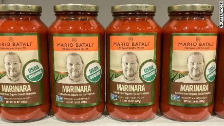 Boston, October 29, 2017: Jars of Mario Batali marinara sauce stand on a shelf in a high end grocery store.; Shutterstock ID 757465816; Job: -