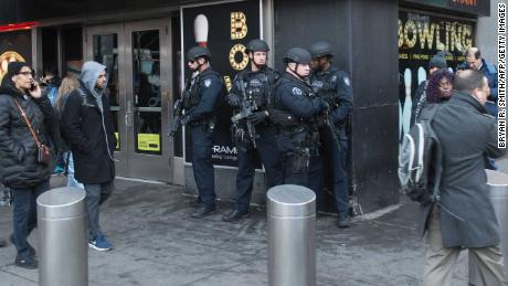 Police and other first responders respond to a reported explosion at the Port Authority Bus Terminal on December 11, 2017 in New York.