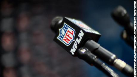 LAKE FOREST, IL - AUGUST 24:  A detailed view of a NFL Network microphone is seen on a podium in the conference room at Hallas Hall during the Bears training camp on August 24, 2017 at Halas Hall, in Lake Forest, IL. (Photo by Robin Alam/Icon Sportswire via Getty Images)