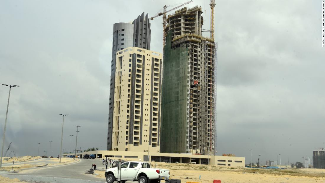 Billed as the largest real estate project in Africa, Eko Atlantic is being built on tons of sand dredged from the Atlantic Ocean off the coast.  However, construction has slowed as a result of Nigeria's economic stagnation.