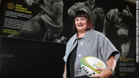 SYDNEY, AUSTRALIA - DECEMBER 12:  Newly appointed Rugby Australia Chief Executive Officer Raelene Castle poses during a press conference at the Rugby Australia Building on December 12, 2017 in Sydney, Australia.  (Photo by Mark Metcalfe/Getty Images)