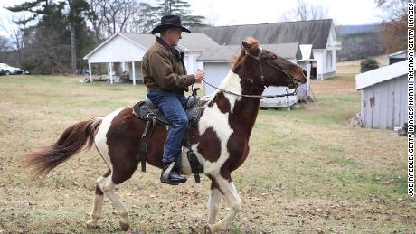 GALLANT, AL - DECEMBER 12:  Republican Senatorial candidate Roy Moore rides his horse after casting his vote at the polling location setup in the Fire Department on December 11, 2017 in Gallant, Alabama. Mr. Moore is facing off against Democrat Doug Jones in the special election for the U.S. Senate.  (Photo by Joe Raedle/Getty Images)