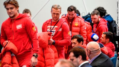 Russia's ice hockey players attend a meeting of the Russian Olympic Committee in Moscow deciding how to respond to IOC ban