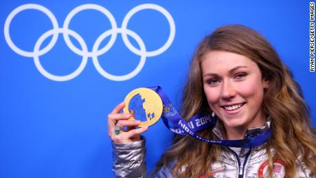 SOCHI, RUSSIA - FEBRUARY 22:  Gold medalist Mikaela Shiffrin of the United States celebrates during the medal ceremony for the Women's Slalom on Day 15 of the Sochi 2014 Winter Olympics at Medals Plaza on February 22, 2014 in Sochi, Russia.  (Photo by Ryan Pierse/Getty Images)