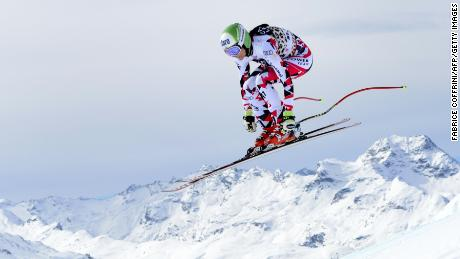 Austria's Mirjam Puchner jumps during the women's downhill practice at the FIS Alpine Ski World Cup Finals, in St. Moritz on March 15, 2016. / AFP / FABRICE COFFRINI        (Photo credit should read FABRICE COFFRINI/AFP/Getty Images)
