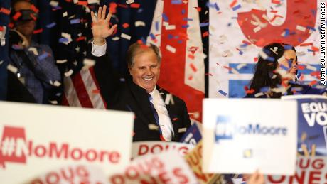 BIRMINGHAM, AL - DECEMBER 12: Democratic U.S. Senator elect Doug Jones greets supporters during his election night gathering the Sheraton Hotel on December 12, 2017 in Birmingham, Alabama. Doug Jones defeated his republican challenger Roy Moore to claim Alabama's U.S. Senate seat that was vacated by attorney general Jeff Sessions. (Photo by Justin Sullivan/Getty Images)