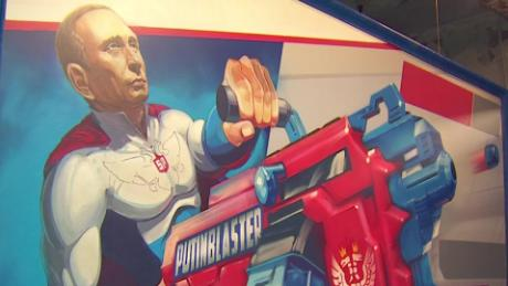 Exhibit portrays Putin as superhero