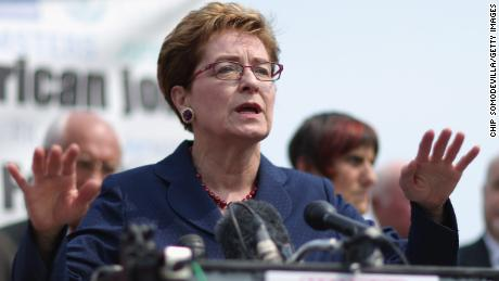 Rep. Marcy Kaptur (D-OH) (C) and fellow Democratic members of Congress hold a news conference to voice their opposition to the Trans-Pacific Partnership trade deal at the U.S. Capitol June 10, 2015 in Washington, DC.