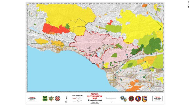 The Thomas Fire, shown in pink, is burning between Santa Barbara and Ventura, California.