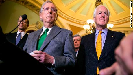 WASHINGTON, DC - DECEMBER 12: Senate Majority Leader Mitch McConnell (R-KY) and Sen. John Cornyn (R-TX) speak to reporters about the Alabama Senate race, during a news conference on Capitol Hill, December 12, 2017 in Washington, DC.