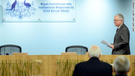 Justice Peter McClellan (R) pictured at the Royal Commission into Institutional Responses to Child Sexual Abuse in 2013.
