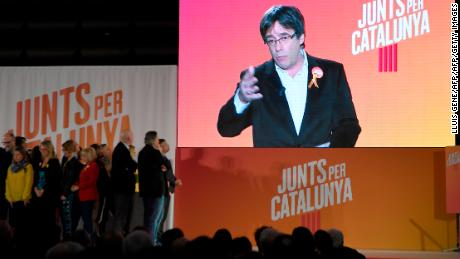 Carles Puigdemont addresses supporters at a campaign event on December 4.