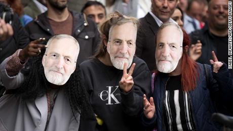 Youth supporters of Britain's opposition Labour Party leader Jeremy Corbyn wait for his final campaign speech in June.