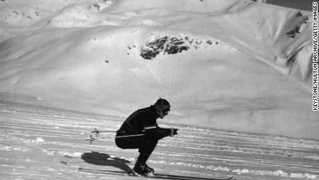 American skier Steve Knowlton comes down Corveglia during the Men's Downhill event at the Winter Olympics in St. Moritz in 1948.