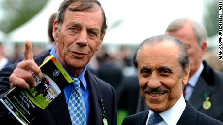 Khalid Abdulla (R) with Frankel's trainer, the late Henry Cecil, in 2011.