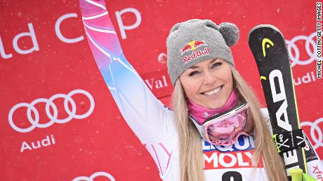 VAL-D'ISERE, FRANCE - DECEMBER 16: Lindsey Vonn of USA takes 1st place during the Audi FIS Alpine Ski World Cup Women's Super G on December 16, 2017 in Val-d'Isere, France. (Photo by Michel Cottin/Agence Zoom/Getty Images)
