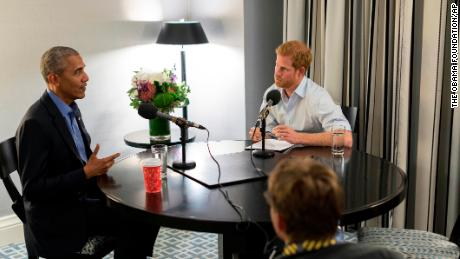 In this undated photo issued on Sunday Dec. 17, 2017 by Kensington Palace courtesy of the Obama Foundation, Britain's Prince Harry, right, interviews former US President Barack Obama as part of his guest editorship of BBC Radio 4's Today programme which is to be broadcast on the December 27, 2017. The interview was recorded in Toronto in September 2017 during the Invictus Games.