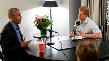 Britain's Prince Harry, right, interviews former US President Barack Obama as part of his guest editorship of BBC Radio 4's Today program.