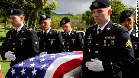 U.S. Soldiers assigned to 225th Brigade Support Battalion, 2nd Infantry Brigade Combat Team, 25th Infantry Division escort the remains of U.S. Army Pfc. Albert E. Atkins, Dec. 15, 2017, at the National Memorial Cemetery of the Pacific, Honolulu, Hawaii. On May 23, 1951, Atkins, a member of Company E, 2nd Battalion, 187th Airborne Infantry Regiment, 187th Airborne Regimental Combat Team, engaged enemy forces with his unit near Mae-Bong, South Korea. Atkins and two other soldiers from his company were reported missing in action. Atkins was recently identified through DNA analysis with the help of the Defense POW/MIA Accounting Agency and returned to his family for burial with full military honors. (U.S. Army photo by Sgt. Lloyd Villanueva)