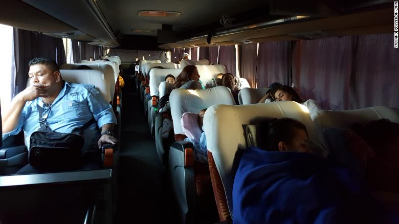 Passengers on this bus tried to catch some sleep as the journey took them through rural Venezuela.