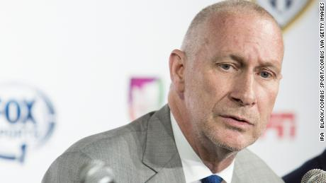 John Skipper, ESPN, Inc. President and Disney Media Co-Chairman during the press announcement of U.S. Soccer and MLS sign landmark 8-year Television and Media Rights Partnership with ESPN, Fox and Univision Deportes. Each of the Television partners will feature a MLS match of the week. Don Garber MLS Commissioner, makes the announcement with Dan Flynn, U.S. Soccer CEO/General Secretary, John Skipper, ESPN, Inc. President and Disney Media Co-Chairman, Eric Shanks, Fox Sports Co-President and Juan Carlos Rodriguez, Univision Deportes President in Manhattan, NY USA, May 12, 2014. (Photo by Ira  Black/Corbis via Getty Images)