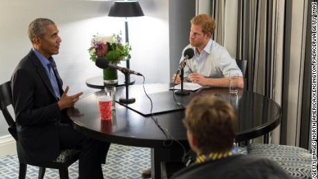 TORONTO, CANADA - SEPTEMBER 2017: In this undated handout photo released by Kensington Palace, courtesy of the Obama Foundation, Prince Harry interviews former US President Barack Obama as part of his guest editorship of BBC Radio 4's Today programme which is to be broadcast on December 27, 2017. The interview was recorded in Toronto in September during the Invictus Games. The conversation with the former President includes his memories of the day he left office and his hopes for his post-presidential life, including his plans to focus on cultivating the next generation of leadership through the Obama Foundation. (Photo by The Obama Foundation via Getty Images)  NOTE TO EDITORS: This handout photo may only be used in for editorial reporting purposes for the contemporaneous illustration of events, things or the people in the image or facts mentioned in the caption. Reuse of the picture may require further permission from the copyright holder.