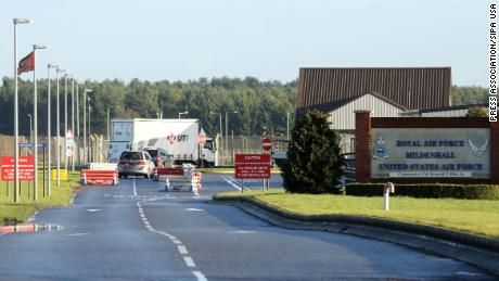 "File photo dated 08/01/15 of American Air Force Base RAF Mildenhall in Suffolk. Suffolk Police says officers are responding to reports of a ""significant incident at RAF Mildenhall"", amid reports of a car trying to ram the gates. (Photo by PA Images/Sipa USA) *** US Rights Only ***"