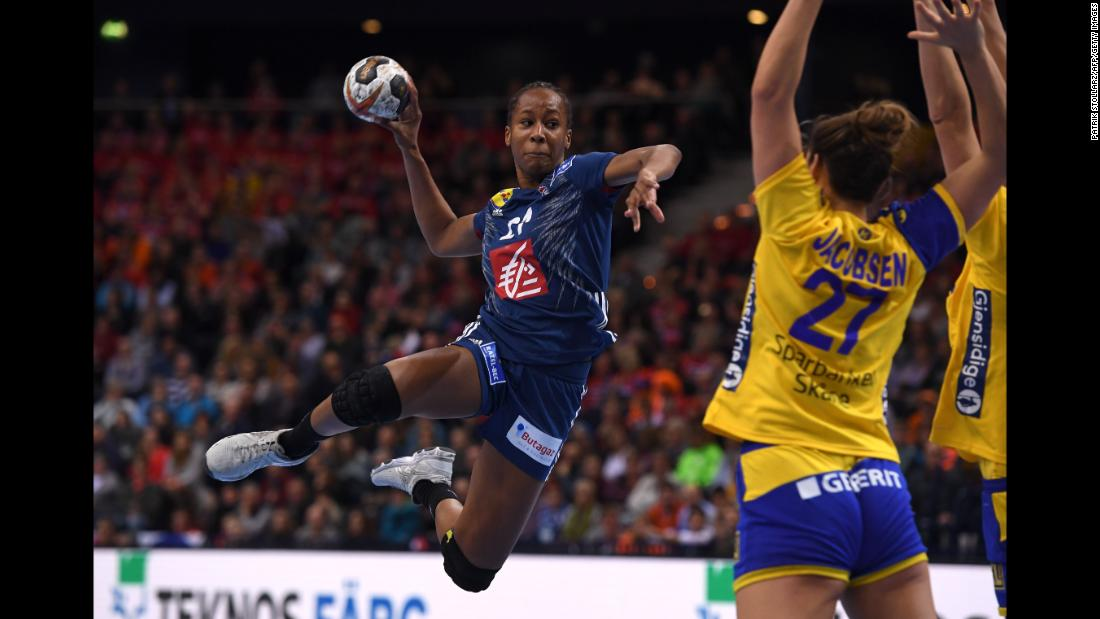 France's Orlane Kanor shoots Friday, December 15, during the semifinals of the Women's Handball Championship. France defeated Sweden and then went on to beat Norway in the final.