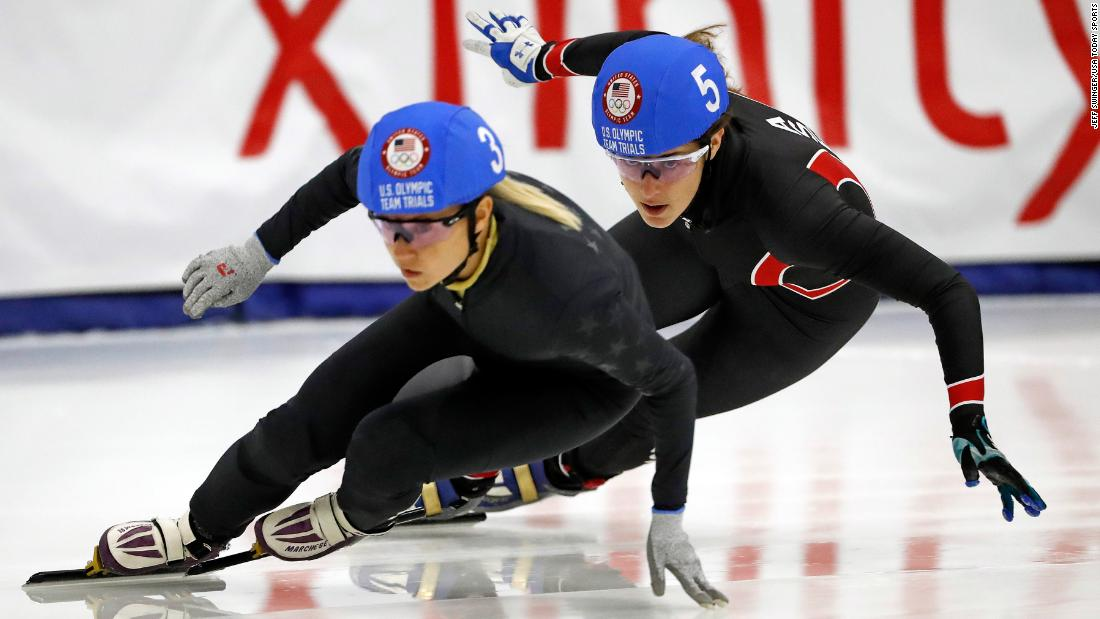 Short-track speedskaters Jessica Kooreman, left, and Katherine Reutter-Adamek compete in the 1,000 meters during the US Olympic Team Trials on Sunday, December 17.