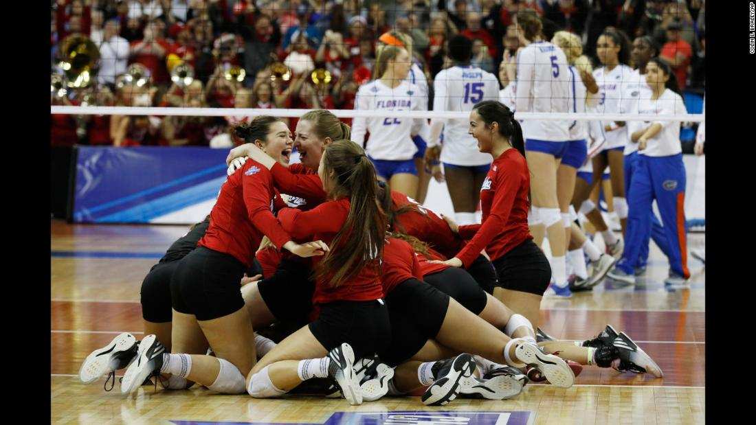 Nebraska volleyball players celebrate after they defeated Florida to win the national championship on Saturday, December 16. It is Nebraska's fifth national title and its second in the last three years.