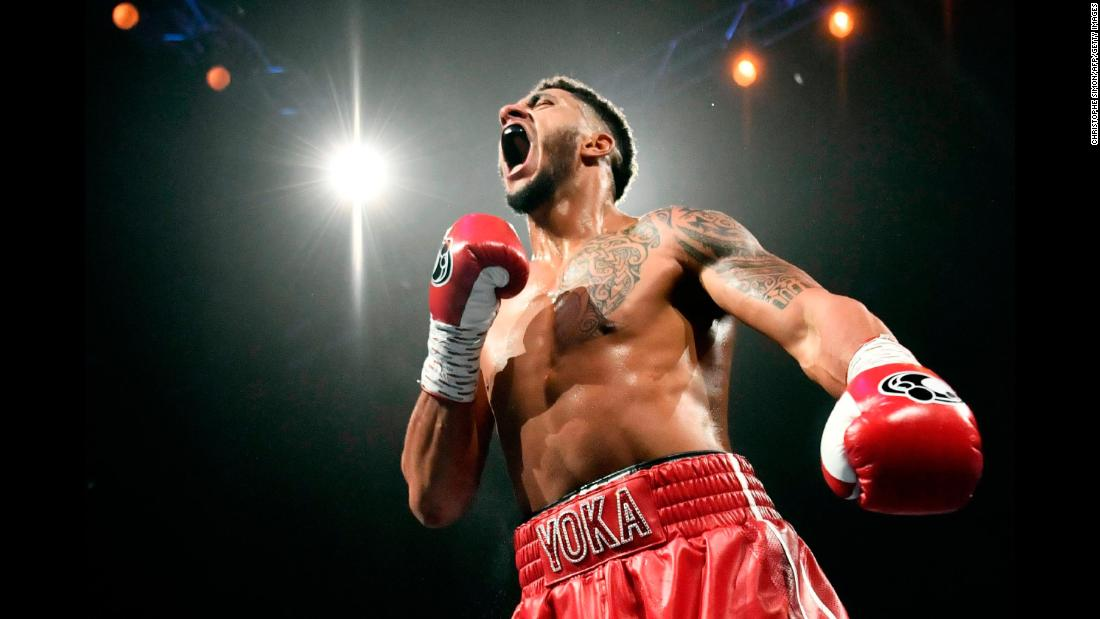 French boxer Tony Yoka celebrates after winning his heavyweight bout against Ali Baghouz on Saturday, December 16.