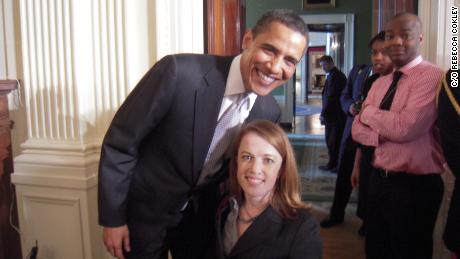 Rebecca Cokley and President Obama pose for a snapshot.