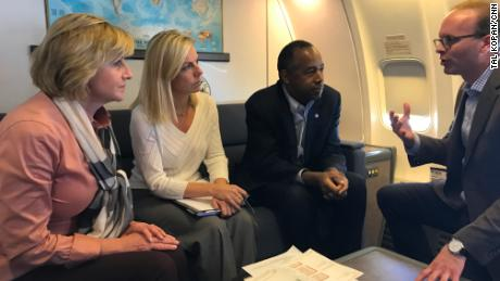 Secretaries Nielsen and Carson getting a briefing in flight from HUD Deputy Secretary Pam Patenaude and FEMA Deputy Administrator for Protection and National Preparedness Daniel Kaniewski.