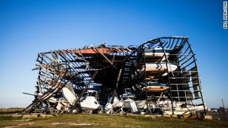 A boat storage depot stands destroyed by Hurricane Harvey.