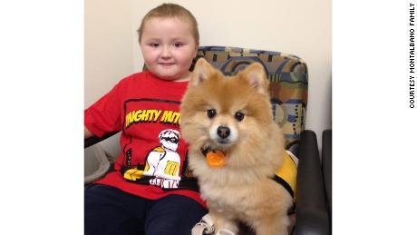 "Four-year-old ""Mighty"" Mitchell Montalbano with Swoosh during the 2014 clinical trial."