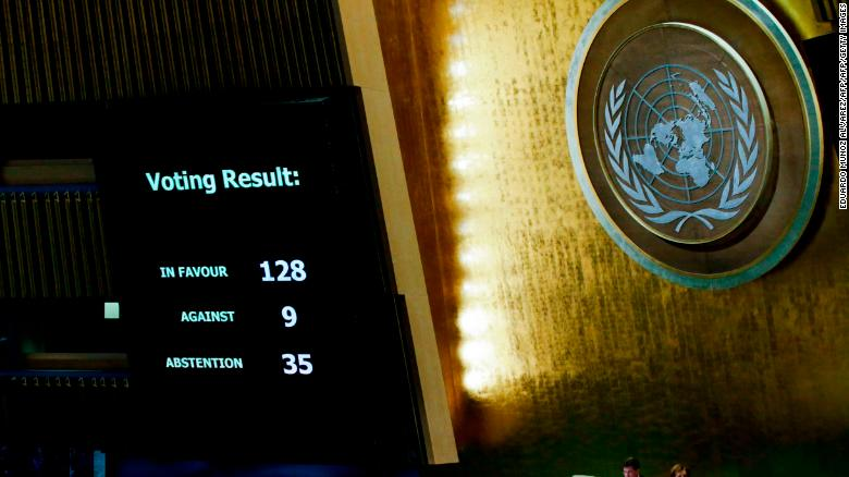 The results of the vote on Jerusalem are seen on a display board at the General Assembly hall, on December 21, 2017, at UN Headquarters in New York. UN member-states were poised to vote on a motion rejecting US recognition of Jerusalem as Israel's capital, after President Donald Trump threatened to cut funding to countries that back the measure.  / AFP PHOTO / EDUARDO MUNOZ ALVAREZ        (Photo credit should read EDUARDO MUNOZ ALVAREZ/AFP/Getty Images)