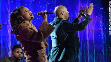 Andra Day and Common perform onstage during CNN Heroes 2017 at the American Museum of Natural History on December 17, 2017 in New York City.