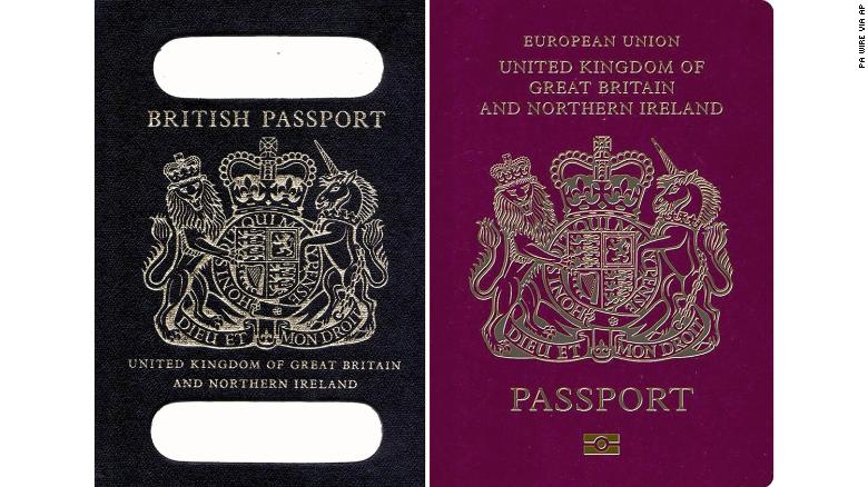 British passports will no longer be printed in the EU-standardized burgundy (r) after Brexit.