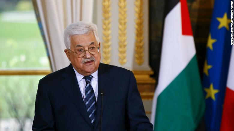 Palestinian President Mahmoud Abbas at a press conference in Paris in December