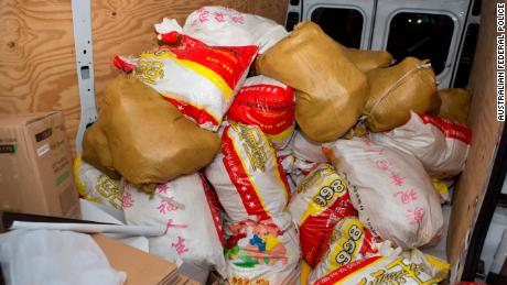 A close-up of some of the 20 kg bags of methamphetamine seized by officers.