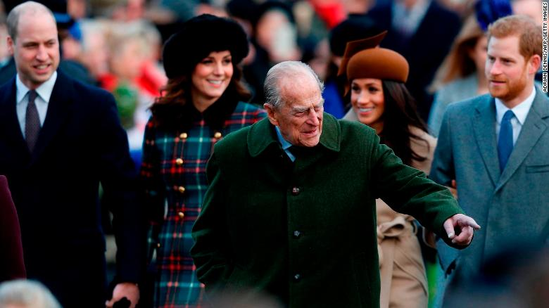 Britain's Prince Philip, Duke of Edinburgh gestures to the crowd.