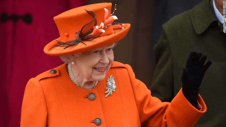 Queen Elizabeth II leaves the Christmas Day morning service at St. Mary Magdalene Church in Sandringham.
