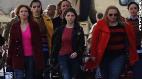 "In ""Pitch Perfect,"" Anna Kendrick (center) as Beca Mitchell and Rebel Wilson (second from right) as Fat Amy play members of a cappella group The Barden Bellas."