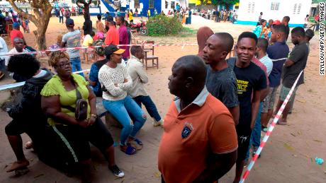 Liberian voters line up at a polling station in Monrovia.