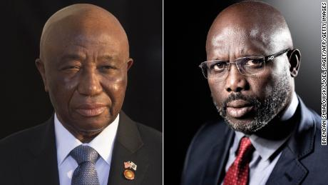 Candidates in Liberia's presidential elections Joseph Boakai and George Weah