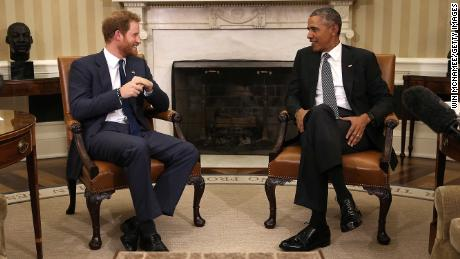 Then-US President Barack Obama meets with Prince Harry at the White House in October 2015.
